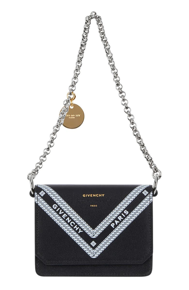 GIVENCHY Wing Leather Card Case on a Chain, Main, color, BLACK/ WHITE