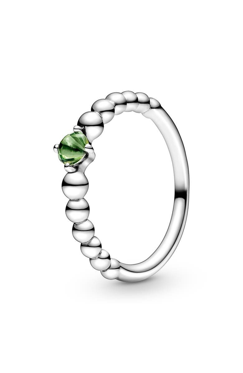 PANDORA Spring Green Beaded Stacking Ring, Main, color, SILVER/TREAT SPRING GRN TOPAZ