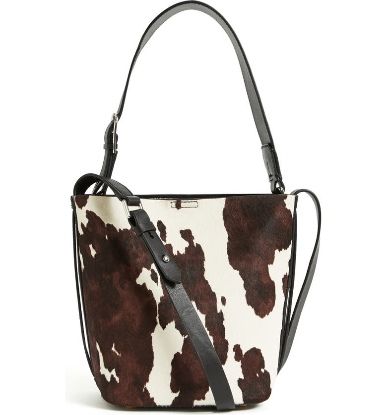 REISS Hudson Mini Calf Hair Bucket Bag, Main, color, COW PRINT
