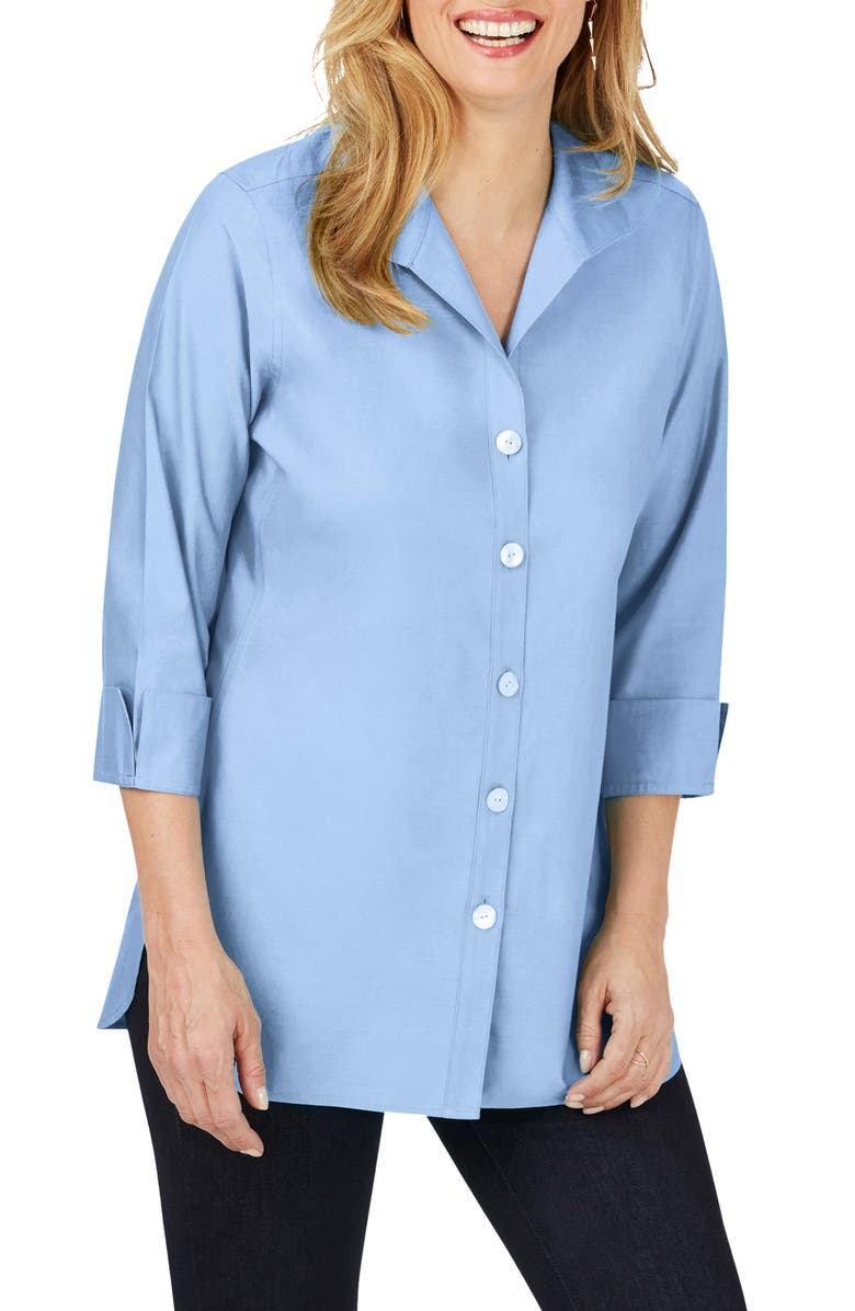 FOXCROFT Pandora Non-Iron Cotton Shirt, Main, color, FRENCH BLUE