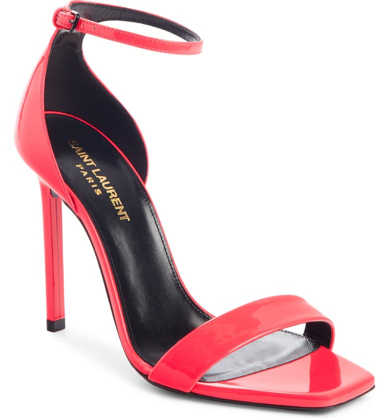 SAINT LAURENT Amber Ankle Strap Stiletto Sandal, Main, color, RED PATENT