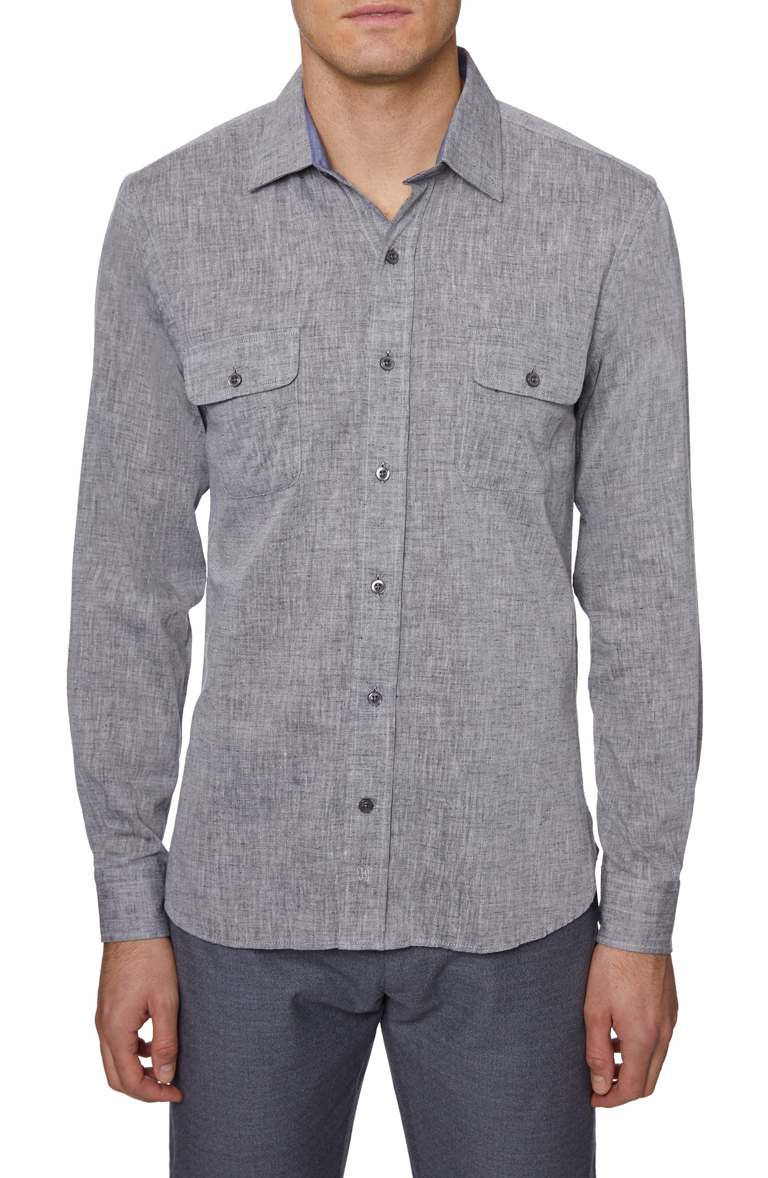 ,                             Regular Fit Cotton & Linen Sport Shirt,                             Main thumbnail 1, color,                             GREY