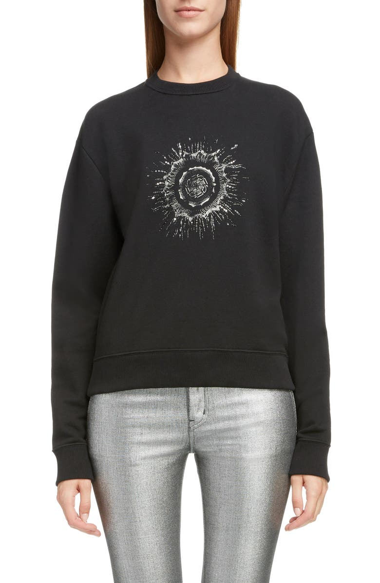 SAINT LAURENT Embellished Splatter Logo Sweatshirt, Main, color, 001