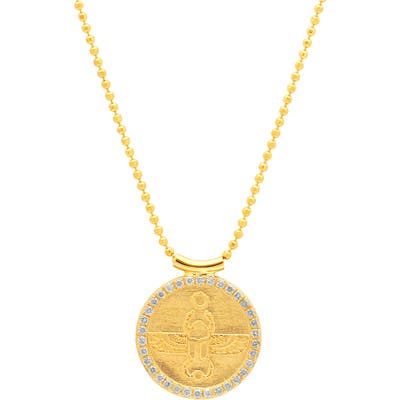 Conges Protection & Transformation Scarab Coin Pendant Necklace