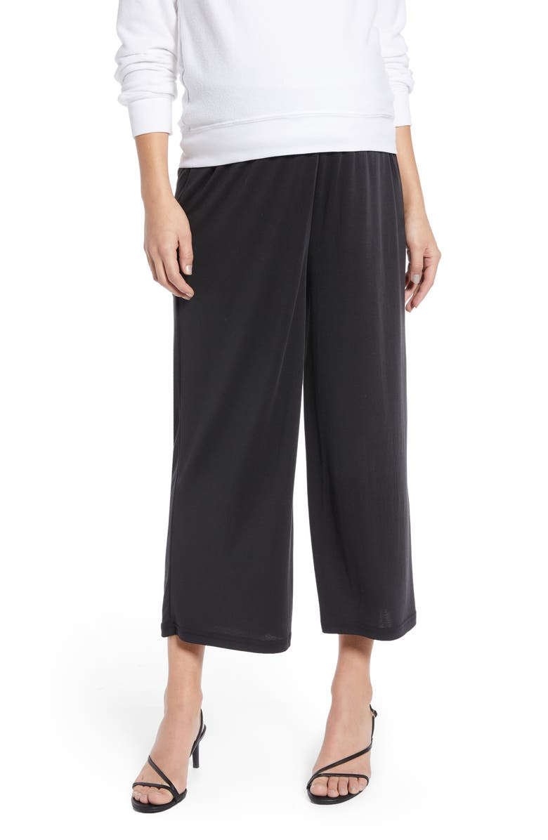 TOPSHOP Maternity Wide Leg Crop Trousers, Main, color, 003