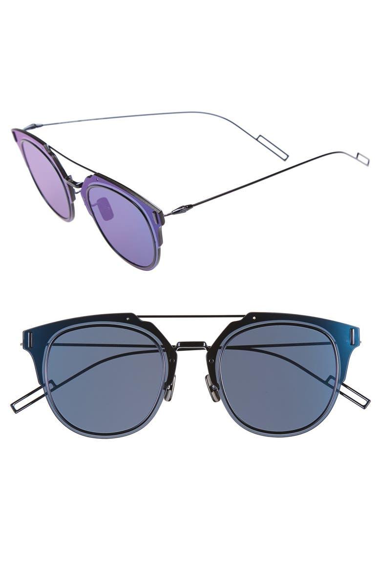 DIOR 'Composit 1.0S' 62mm Metal Shield Sunglasses, Main, color, SHINY BLUE RUTHENIUM/ BLUE