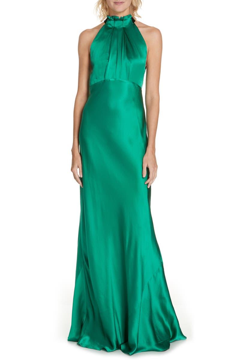 SALONI Michelle Velvet Bow Silk Halter Gown, Main, color, EMERALD GREEN