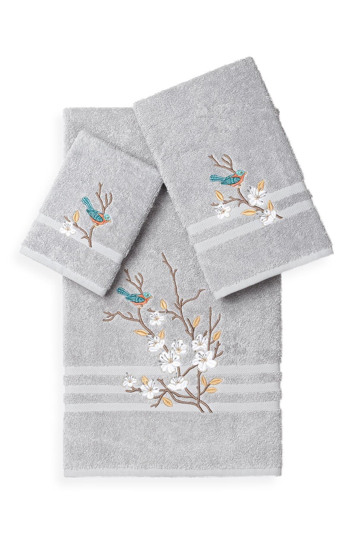Image of LINUM TOWELS Spring Time 3-Piece Embellished Towel Set - Light Grey