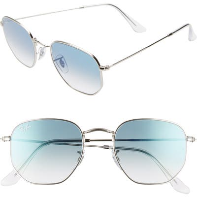 Ray-Ban 51Mm Aviator Sunglasses - Silver/ Blue Gradient