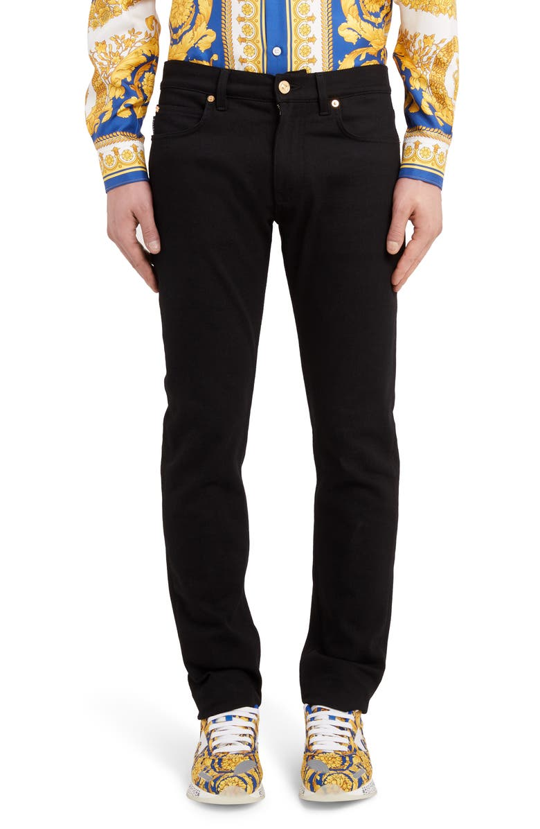 VERSACE Trim Fit Jeans, Main, color, BLACK