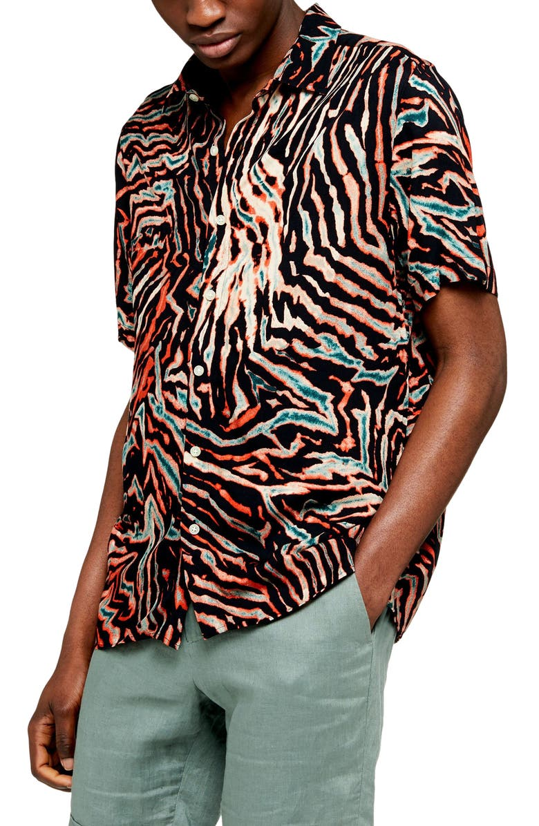 TOPMAN Slim Fit Bleach Tiger Print Short Sleeve Button-Up Shirt, Main, color, 001
