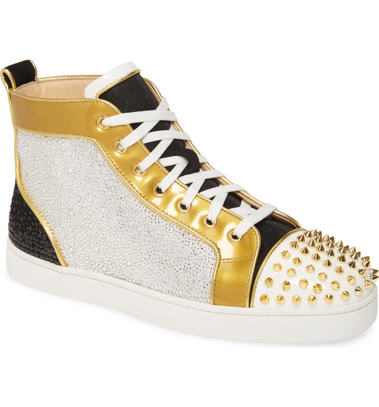 CHRISTIAN LOUBOUTIN Crystal Embellished Glitter High Top Sneaker, Main, color, VERSION MULTI