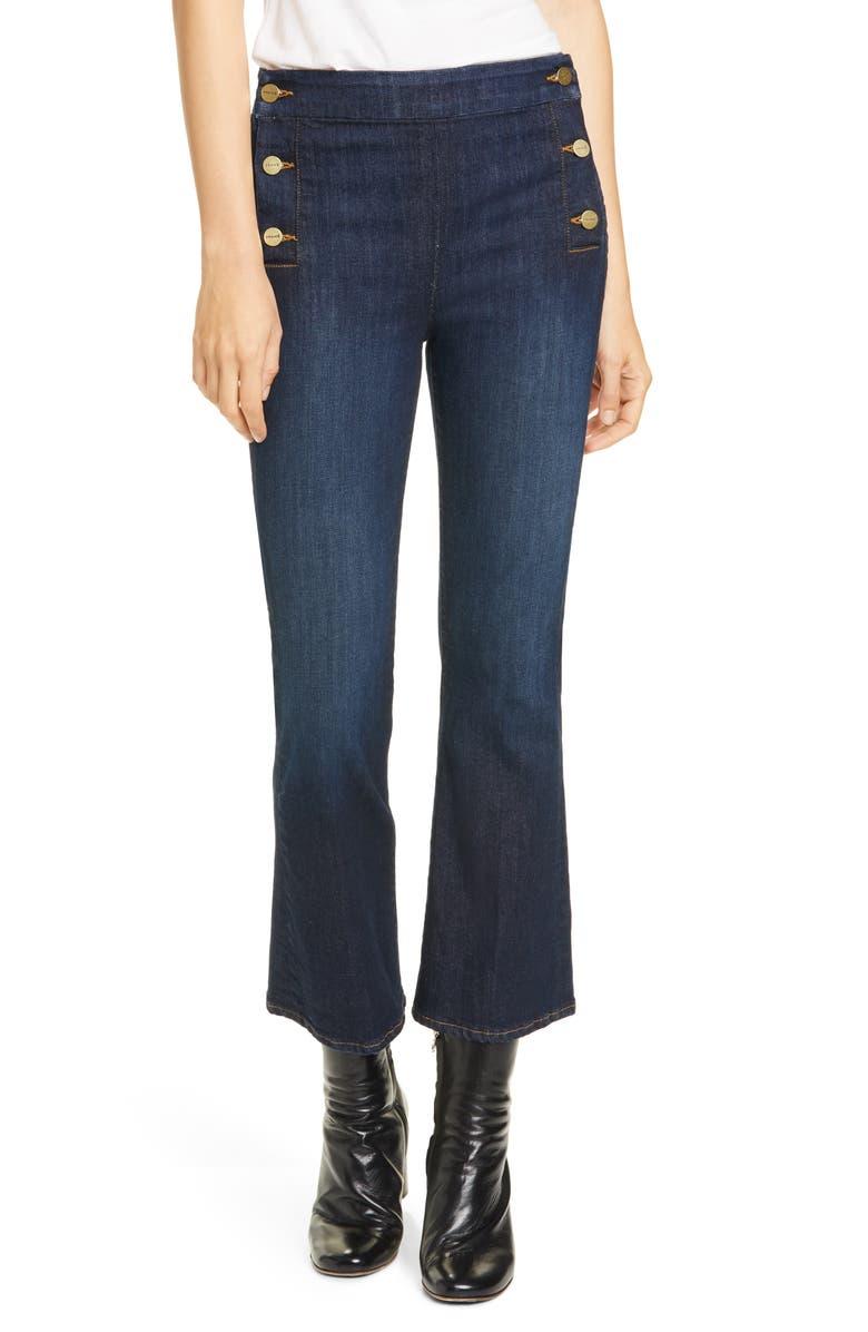 FRAME Le Crop Mini Boot Button Waist Jeans, Main, color, 401