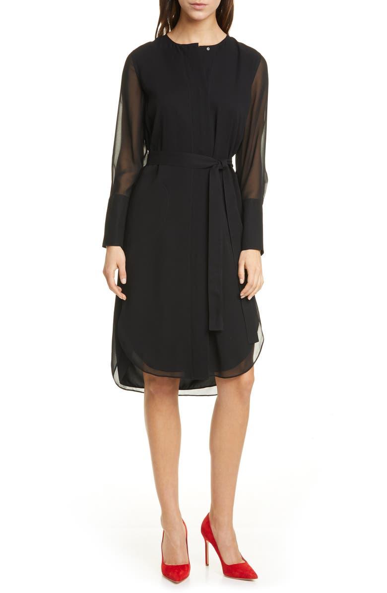 CLUB MONACO Long Sleeve Silk Chiffon Midi Shirtdress, Main, color, 001