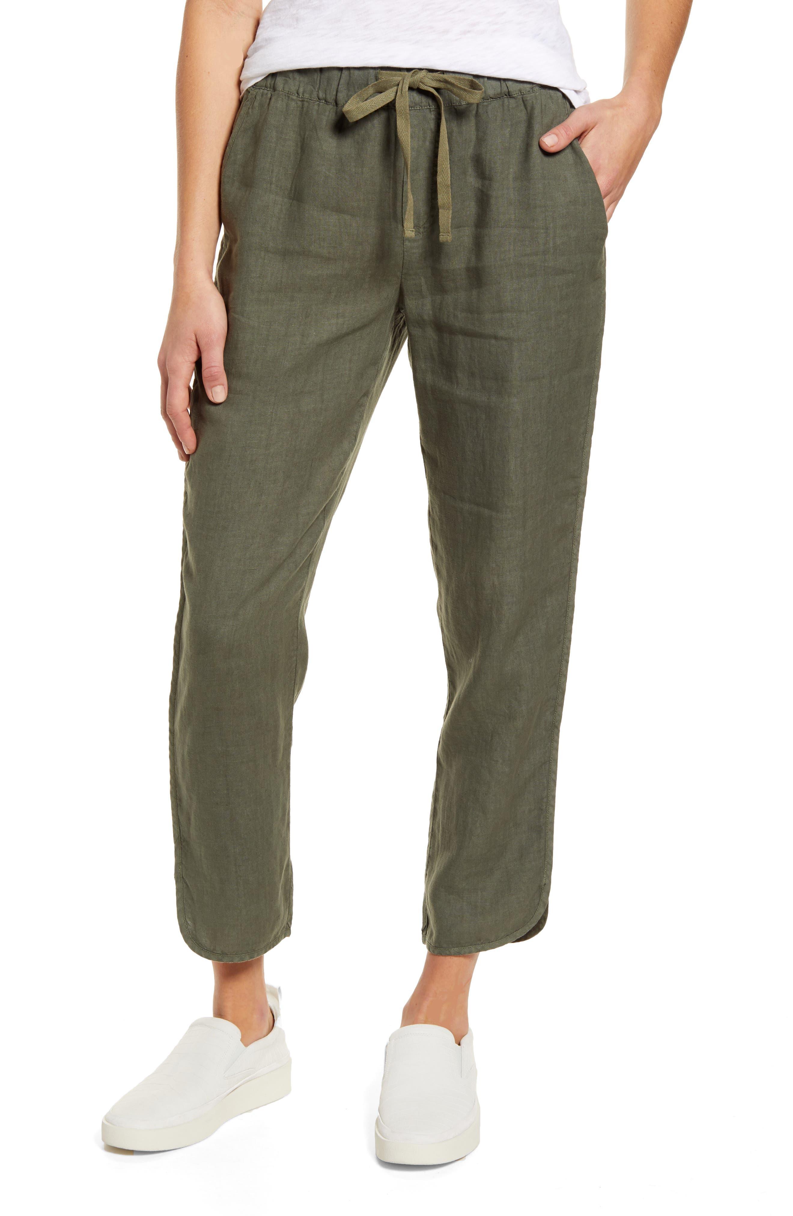Petite Women's Caslon Track Style Linen Pants