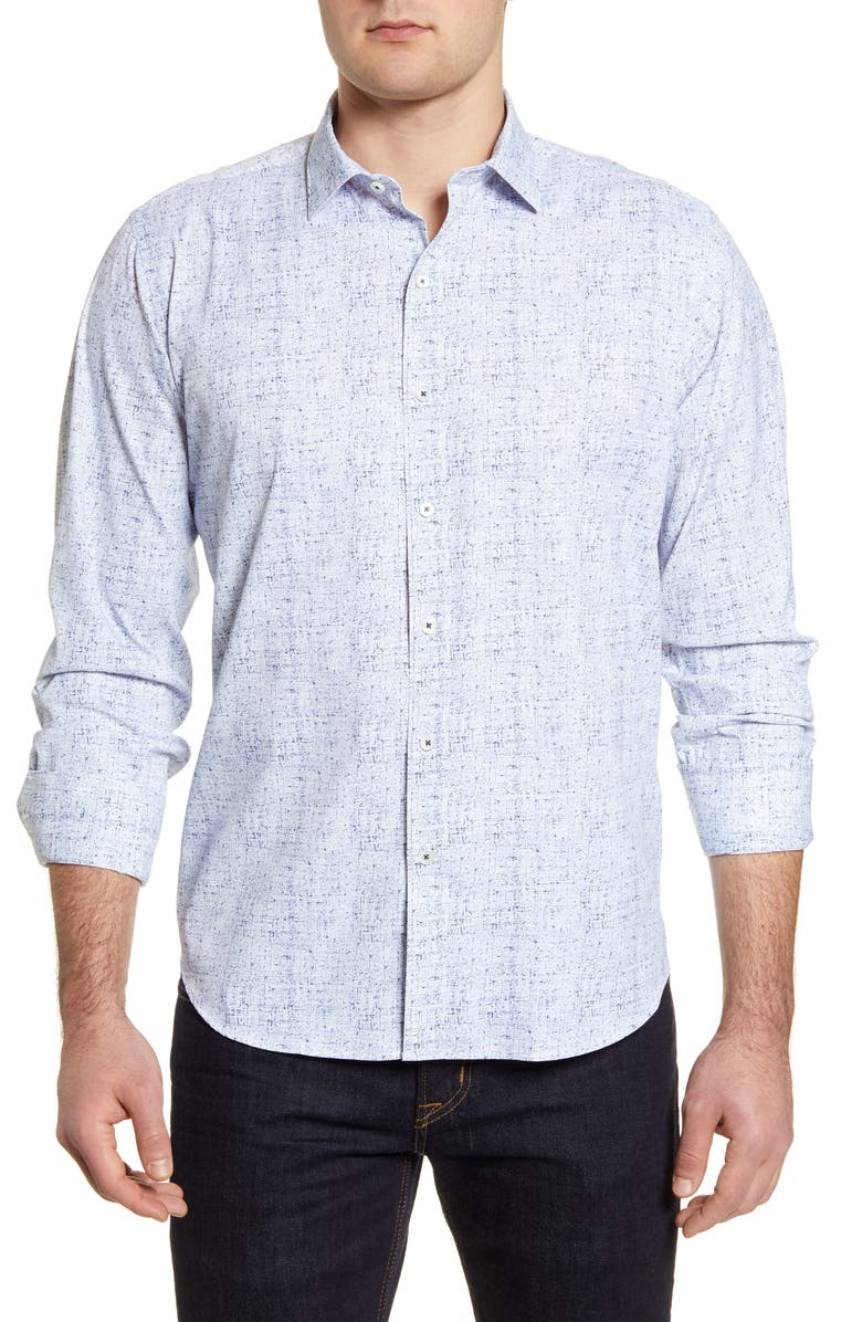 BUGATCHI Classic Fit Performance Button-Up Shirt, Main, color, AIR BLUE
