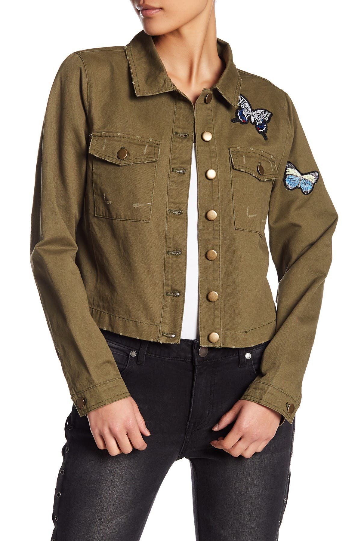 Image of Romeo & Juliet Couture Butterfly Patch Military Jacket