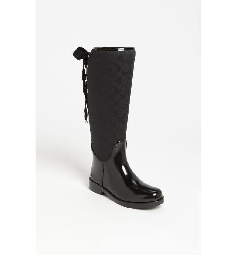 COACH 'Tristee' Waterproof Rain Boot, Main, color, 002