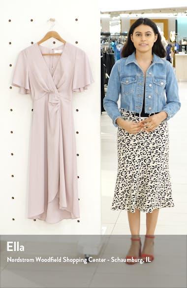 Delaney Faux Wrap Flutter Sleeve Dress, sales video thumbnail