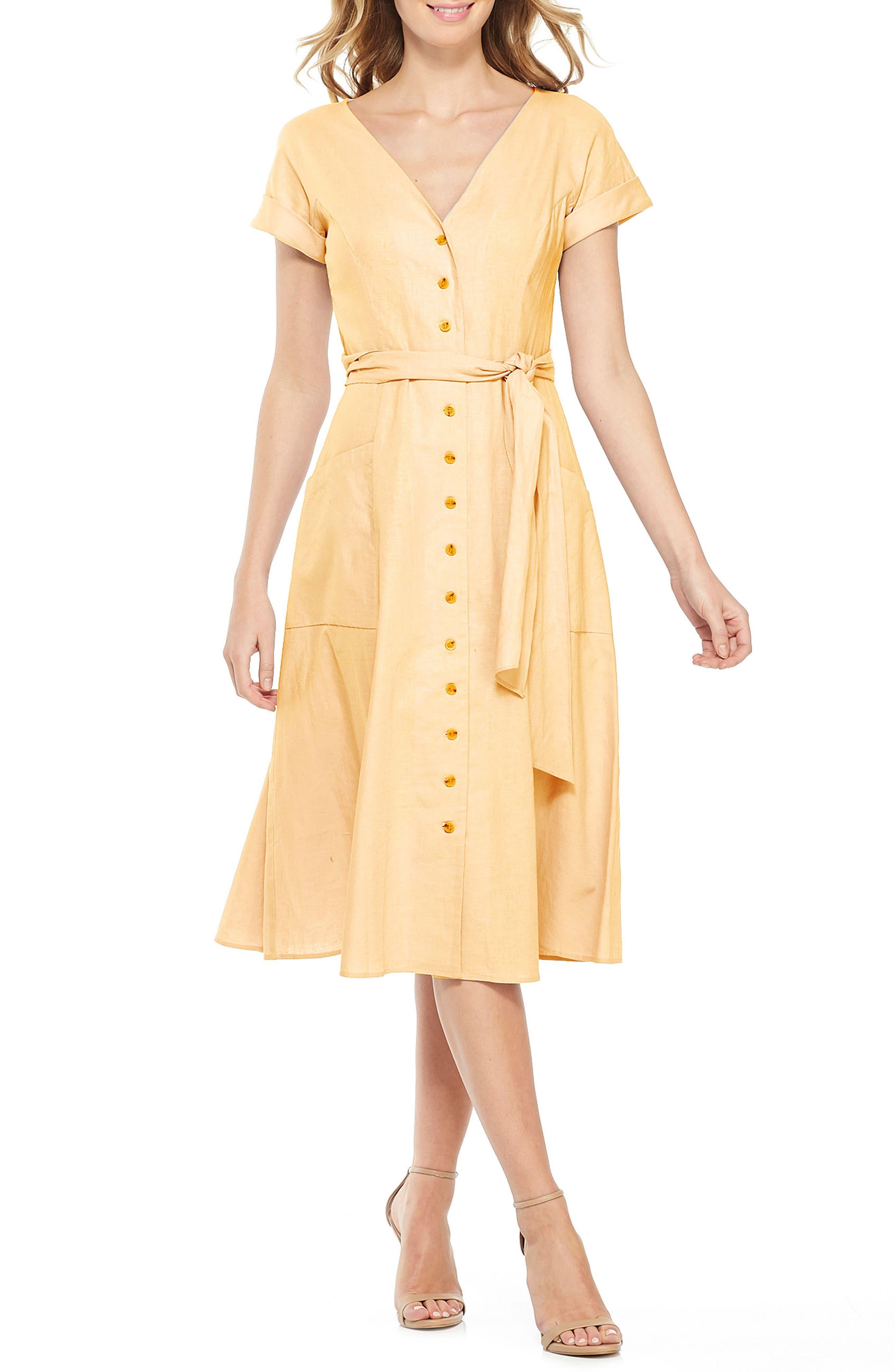 Gal Meets Glam Collection Vanessa Button Front Linen Blend Midi Dress