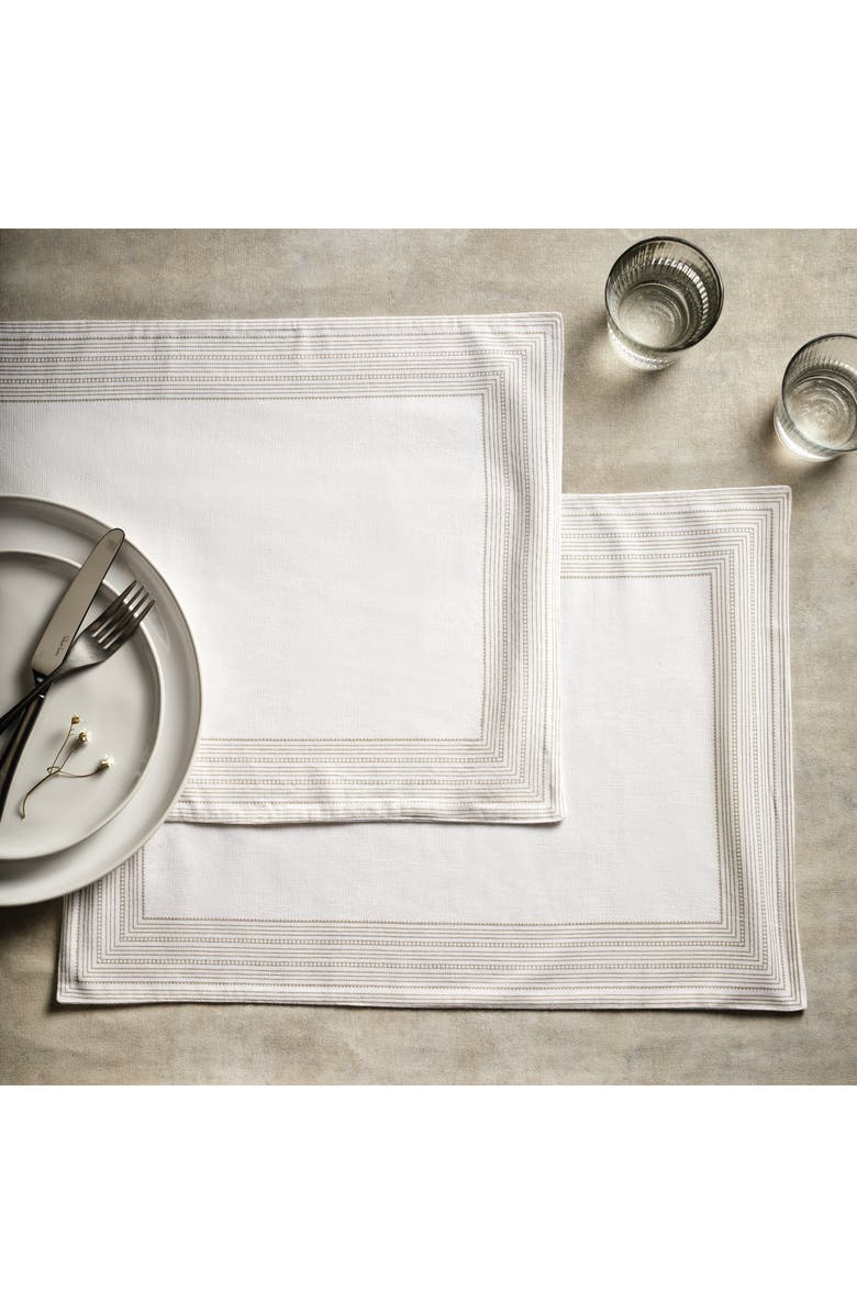 THE WHITE COMPANY Set of 2 Printed Stripe Cotton Place Mats, Main, color, WHITE/ NATURAL