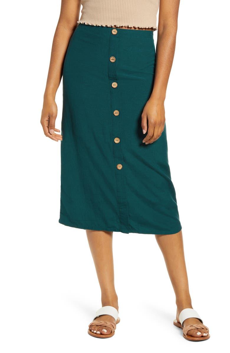 BILLABONG Swaying Leaves Midi Skirt, Main, color, DEEP JADE