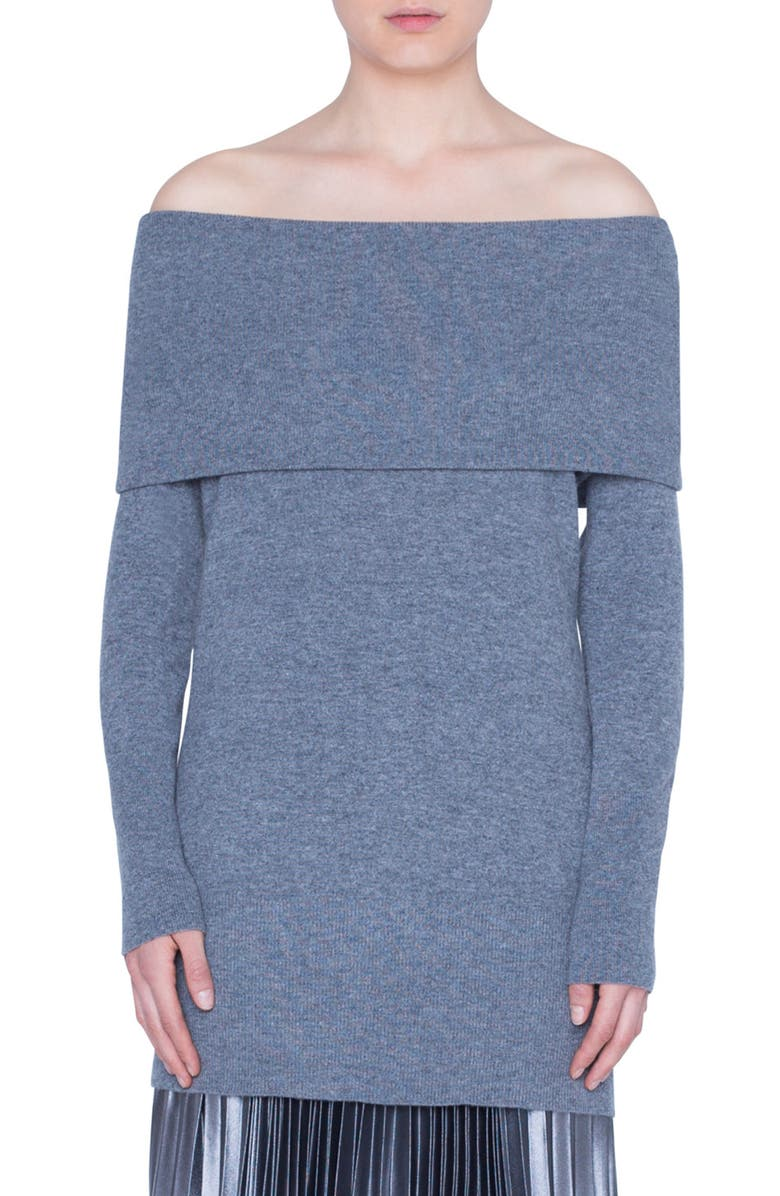 AKRIS PUNTO Off the Shoulder Wool & Cashmere Pullover, Main, color, SILVER