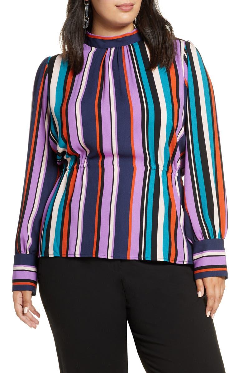 HALOGEN<SUP>®</SUP> Waist Detail Blouse, Main, color, BLACK MULTI JANE STRIPE