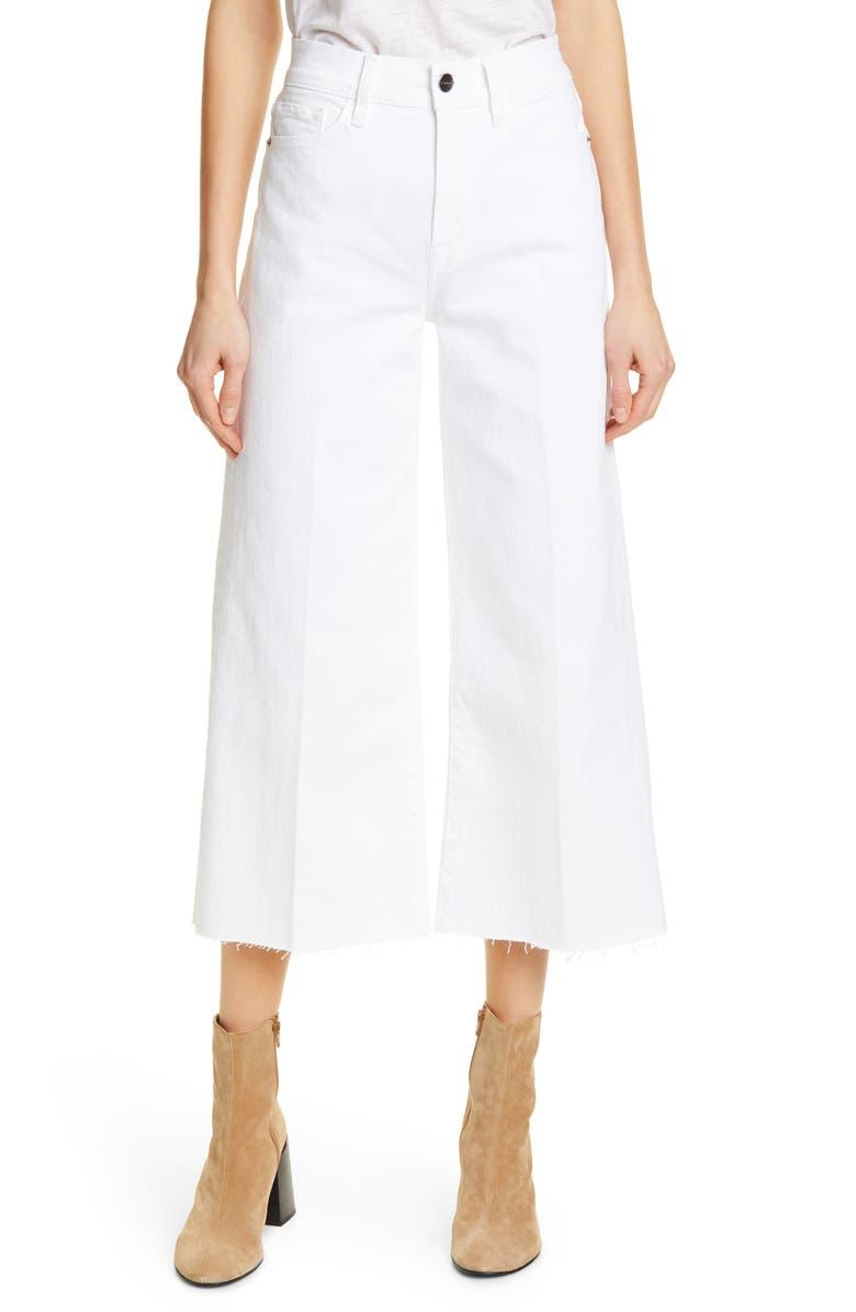 FRAME High Waist Crop Wide Leg Jeans, Main, color, BLANC