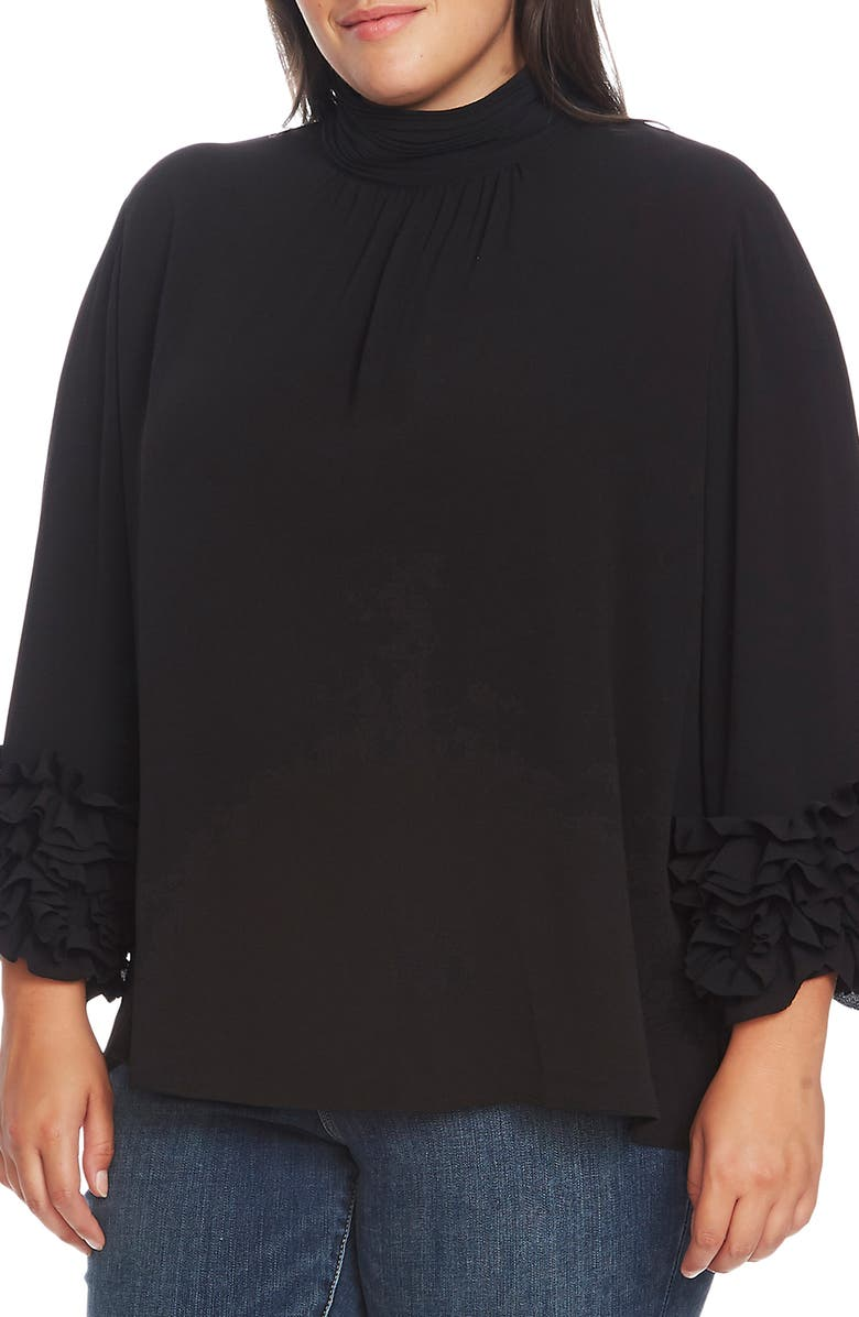 VINCE CAMUTO Shirred Detail Ruffle Sleeve Blouse, Main, color, RICH BLACK