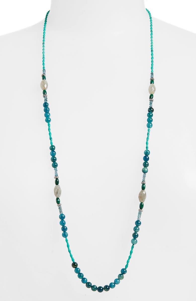 ARMENTA New World Long Beaded Necklace, Main, color, LABRADORITE/ SILVER