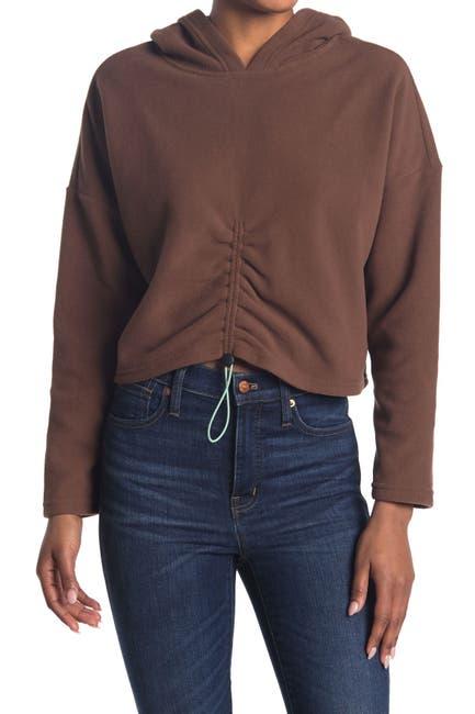 Image of Elodie Cinched Front Fleece Crop Hoodie