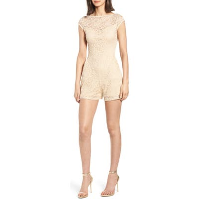 Sentimental Ny Lace Romper, Beige