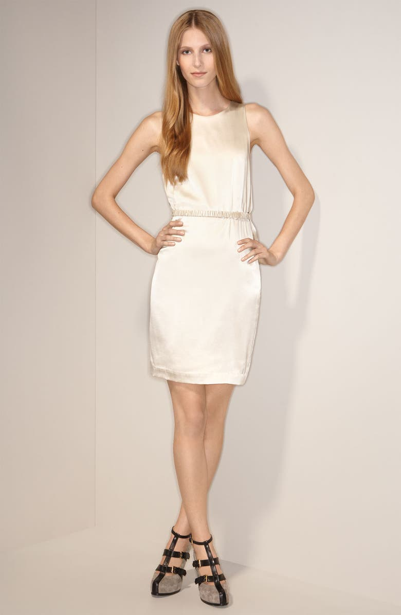 3.1 PHILLIP LIM Belted Stretch Charmeuse Dress, Main, color, PEARL
