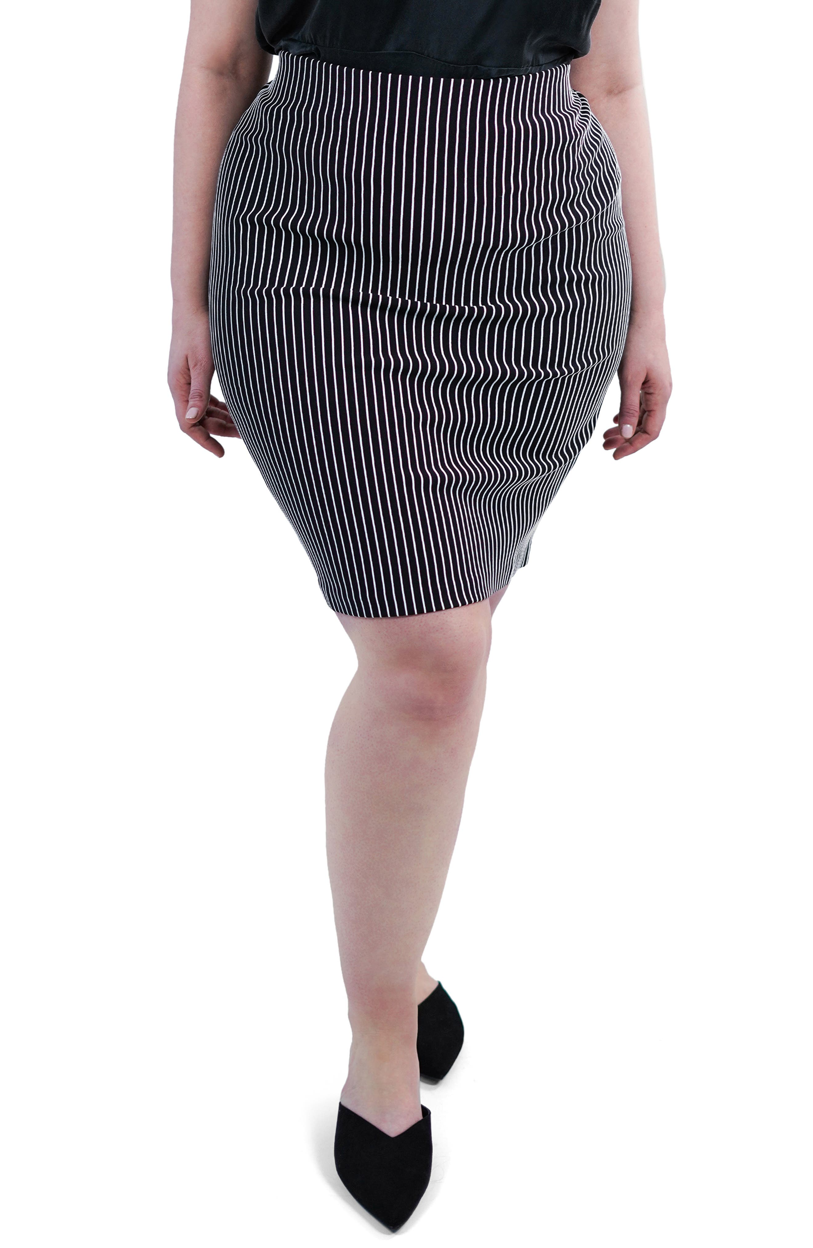 ,                             Textured Stripe Skirt,                             Main thumbnail 1, color,                             BLACK/ WHITE