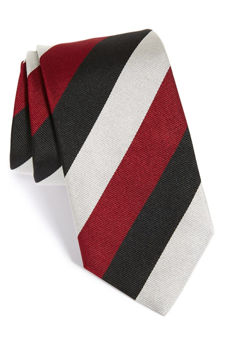 GITMAN Stripe Silk Tie, Main, color, BLACK