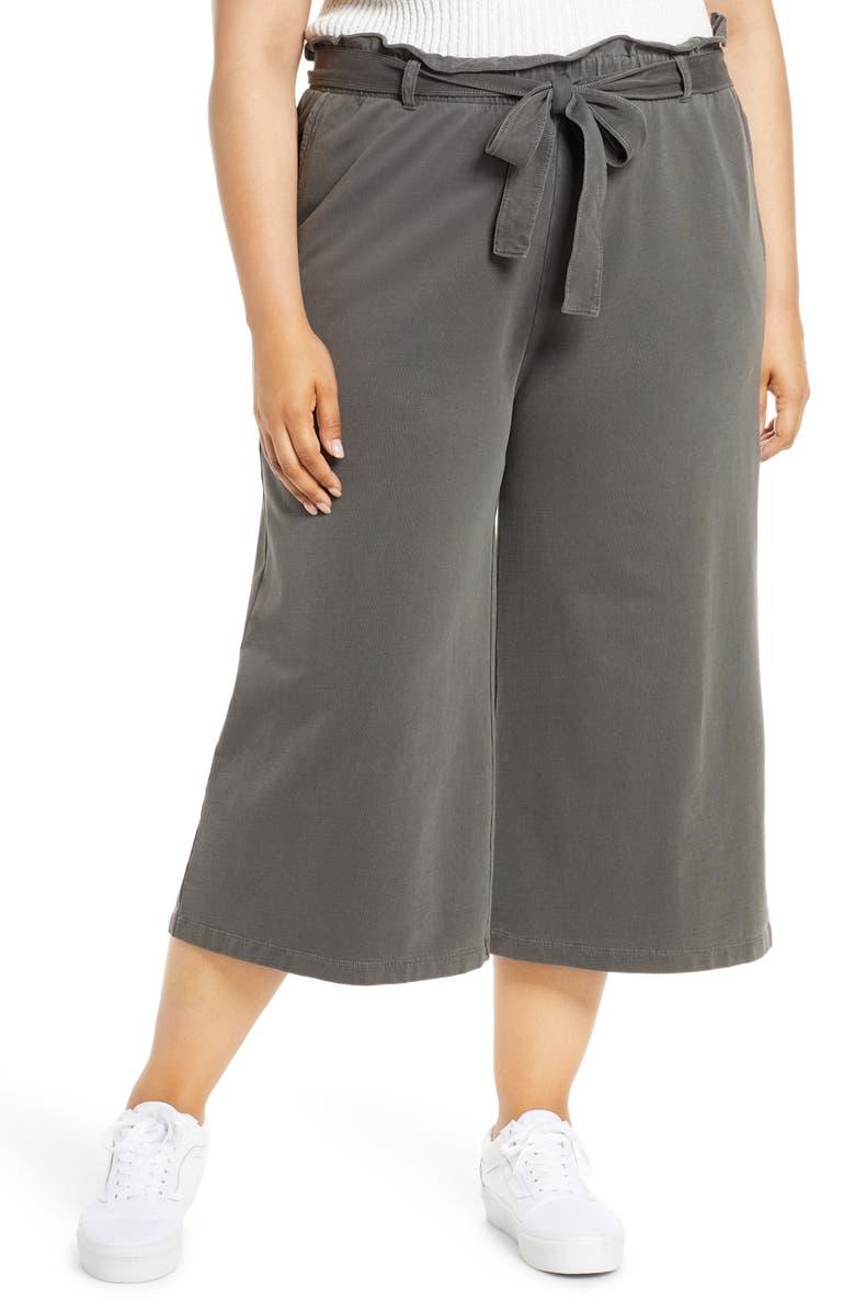 BP. Tie Waist Wide Leg Crop Pants, Main, color, BLACK