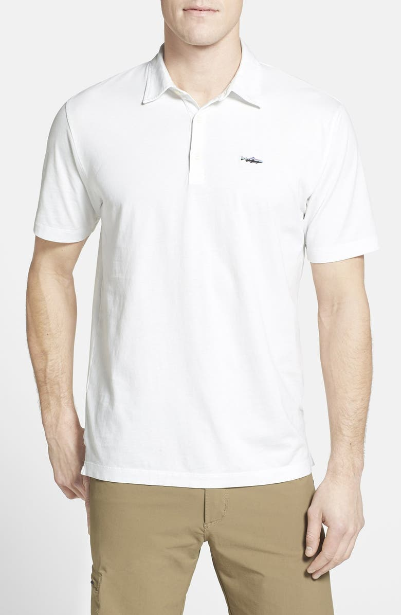 PATAGONIA Trout Fitz Roy Regular Fit Organic Cotton Polo, Main, color, WHITE
