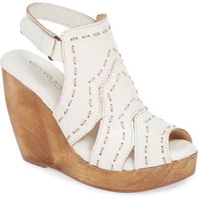 Very Volatile Terra Platform Wedge Sandal, White