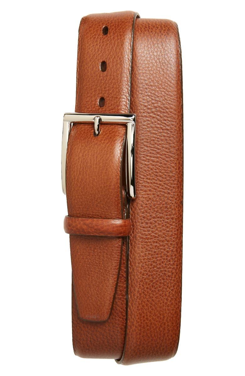 TORINO Calfskin Leather Belt, Main, color, BRANDY