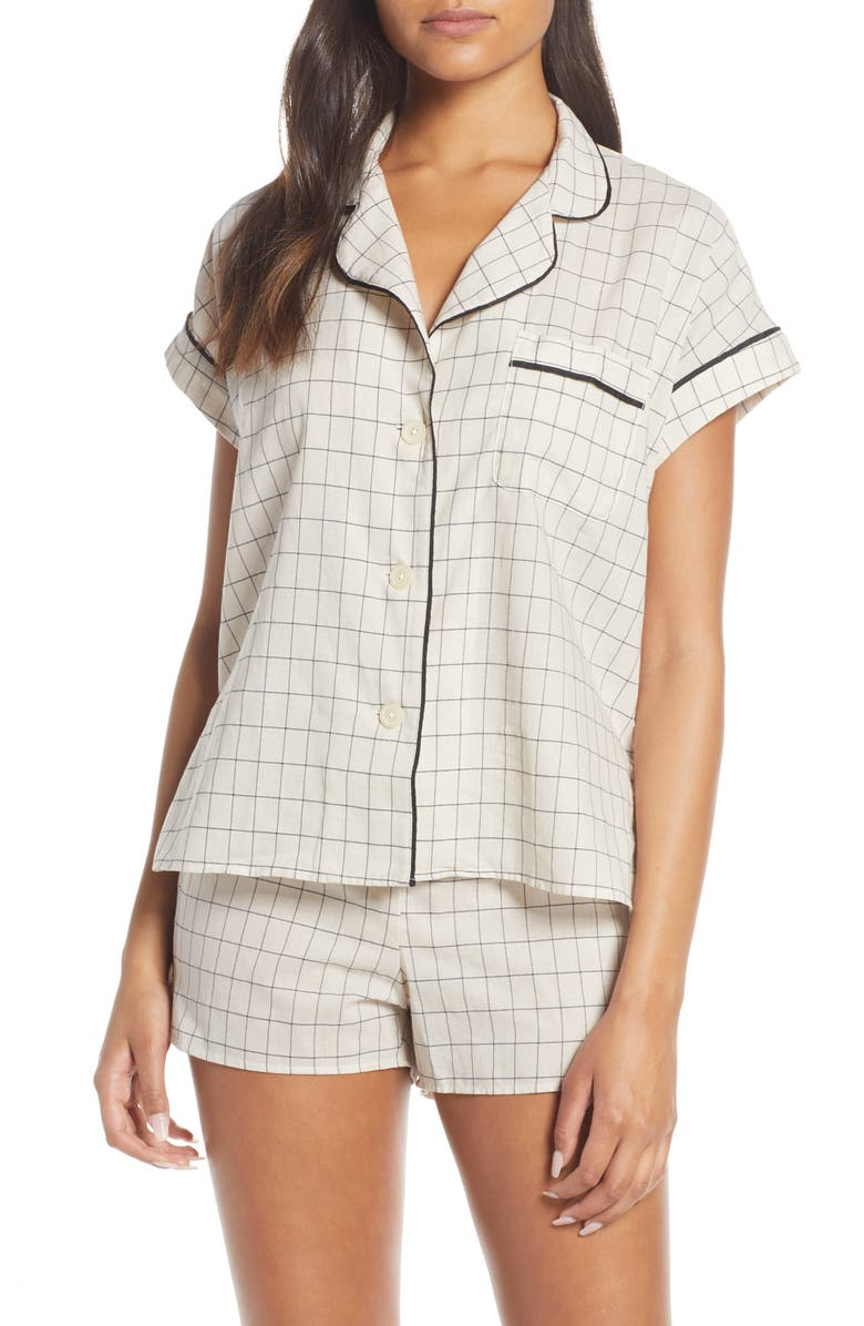 MADEWELL Windowpane Check Bedtime Pajama Top, Main, color, PALE PARCHMENT