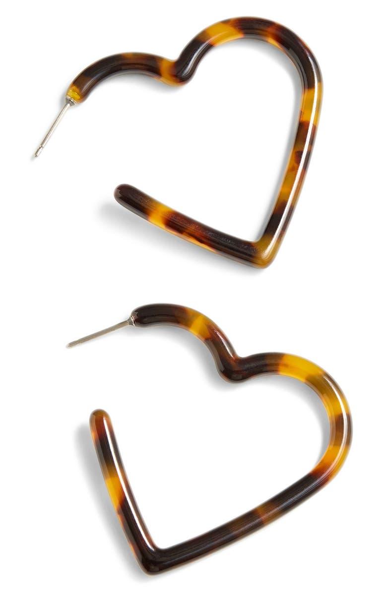 Acetate Heart Hoop Earrings by J.Crew