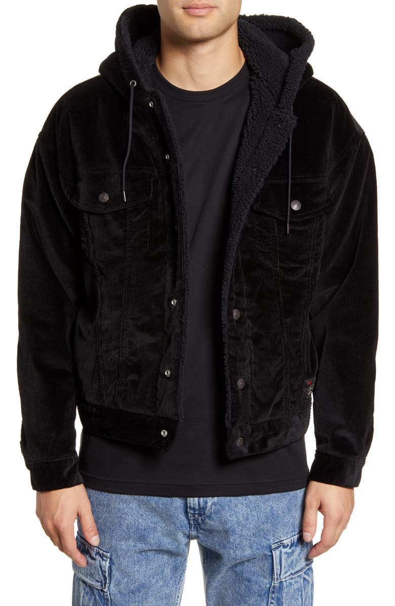 LEVI'S<SUP>®</SUP> x Justin Timberlake Faux Fur Lined Corduroy Trucker Jacket, Main, color, BLACK