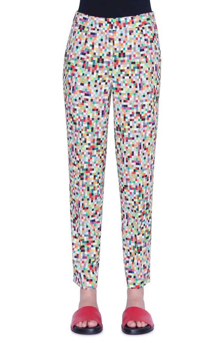 AKRIS PUNTO Maiko Pixel Print Crepe Ankle Pants, Main, color, PIXELPRINT ALLOVER