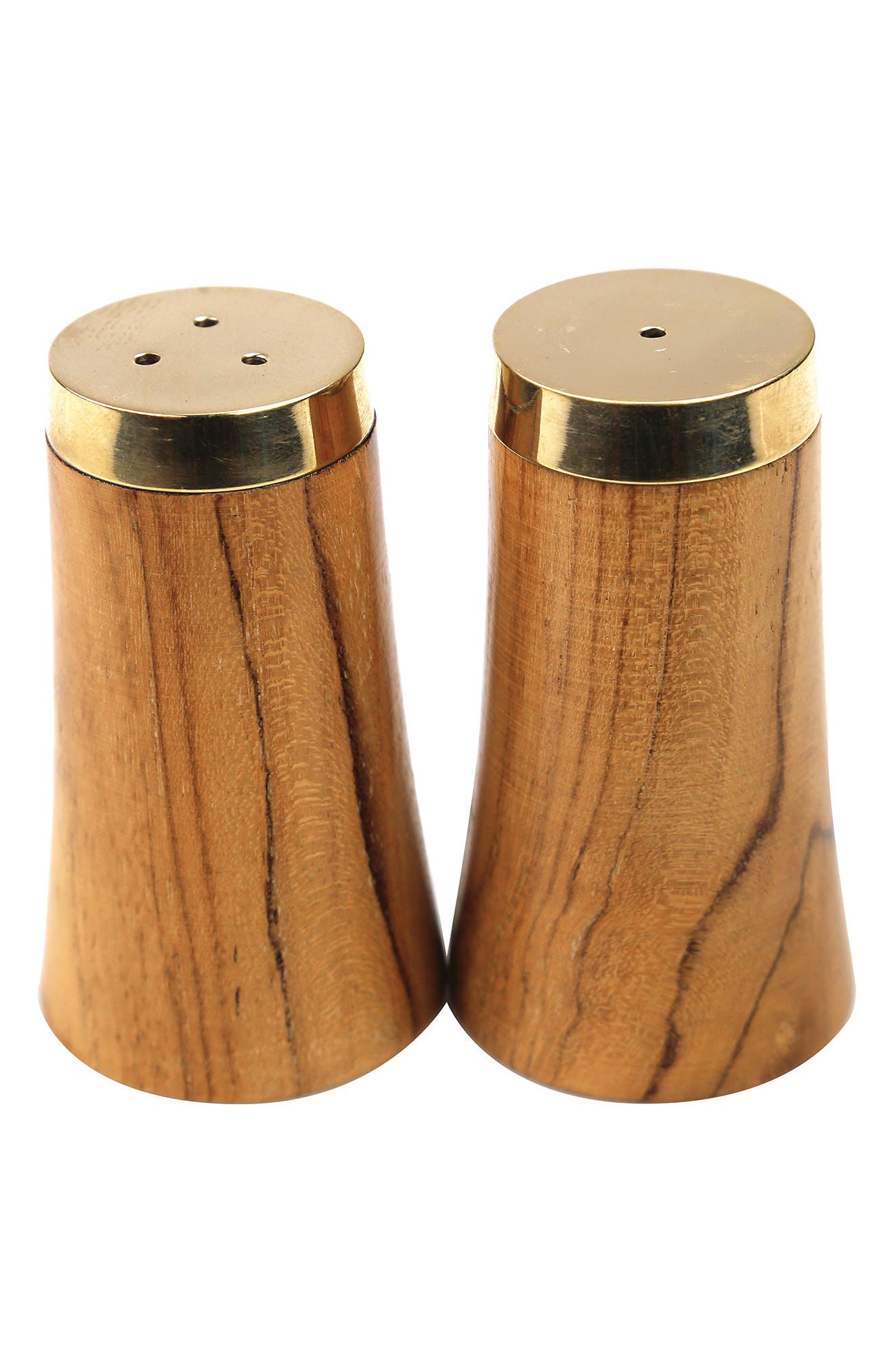Perfect for your mid-century modern tabletop, these salt and pepper shakers are shaped from warm, grainy teak and topped with shiny golden lids. Style Name: Be Home Teak Salt & Pepper Shakers. Style Number: 6086034. Available in stores.
