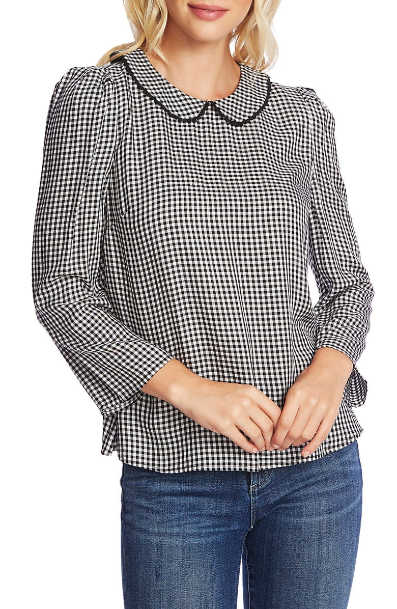 CECE Gingham Refresh Peter Pan Collar Top, Main, color, SOFT ECRU