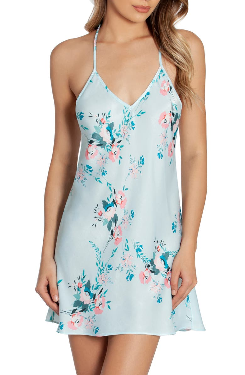 IN BLOOM BY JONQUIL Lovin' You Floral Satin Chemise, Main, color, AQUA FLORAL