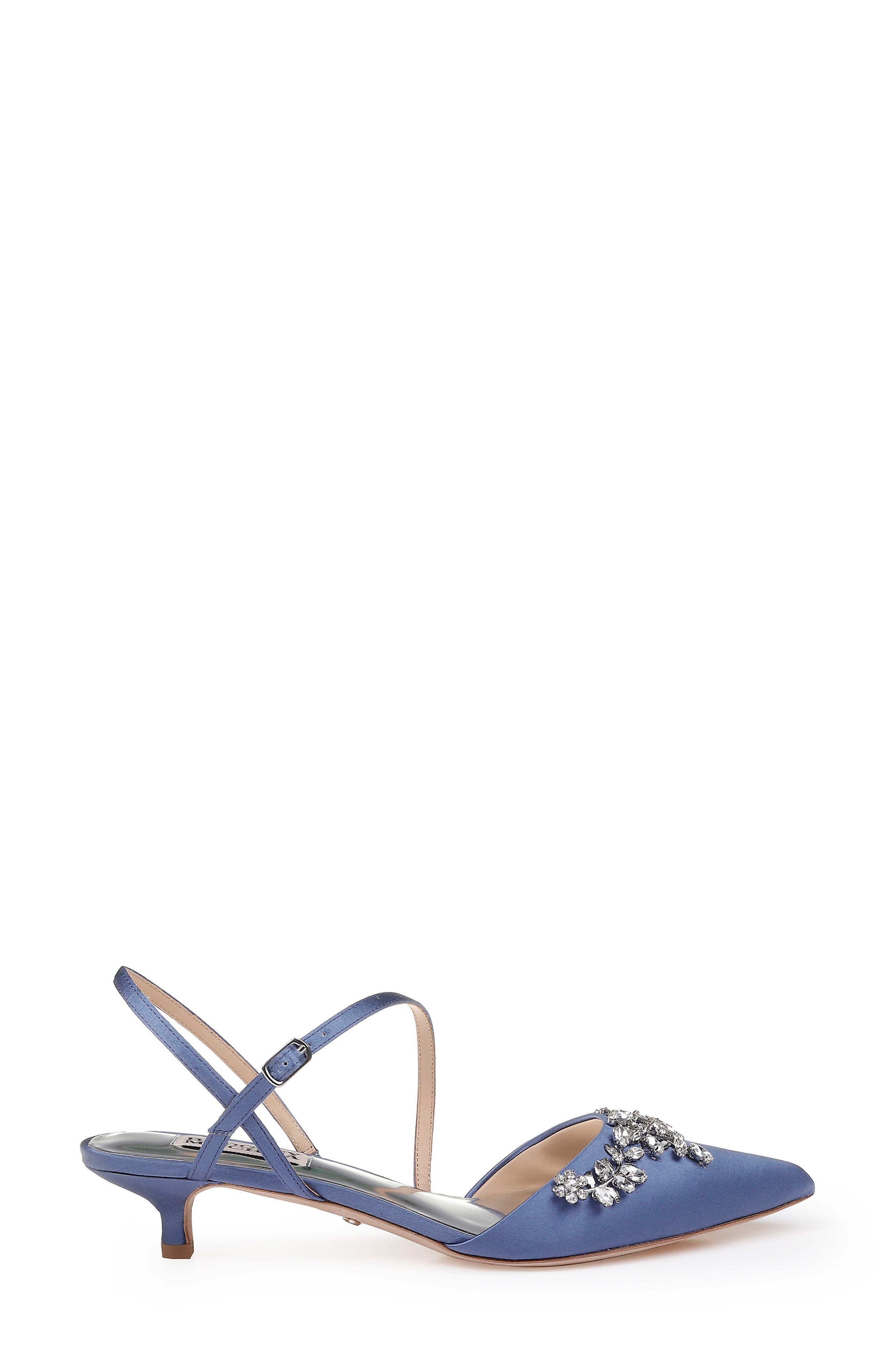 ,                             Badgley Mischka Crystal Embellished Quarter Strap Pump,                             Alternate thumbnail 3, color,                             ITALIAN BLUE SATIN