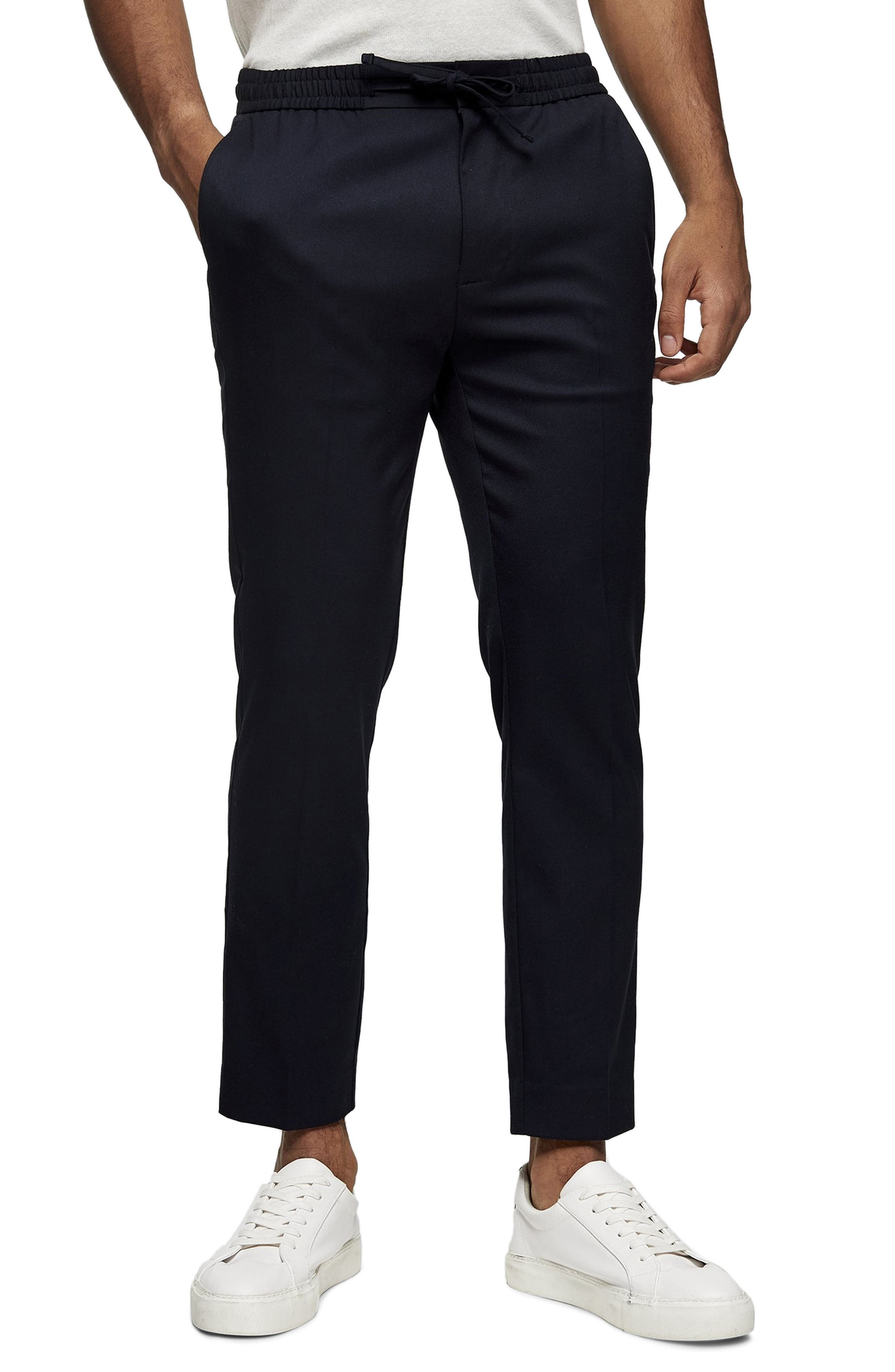 Men's Topman Crop Drawstring Pants,  30 x 32 - Blue