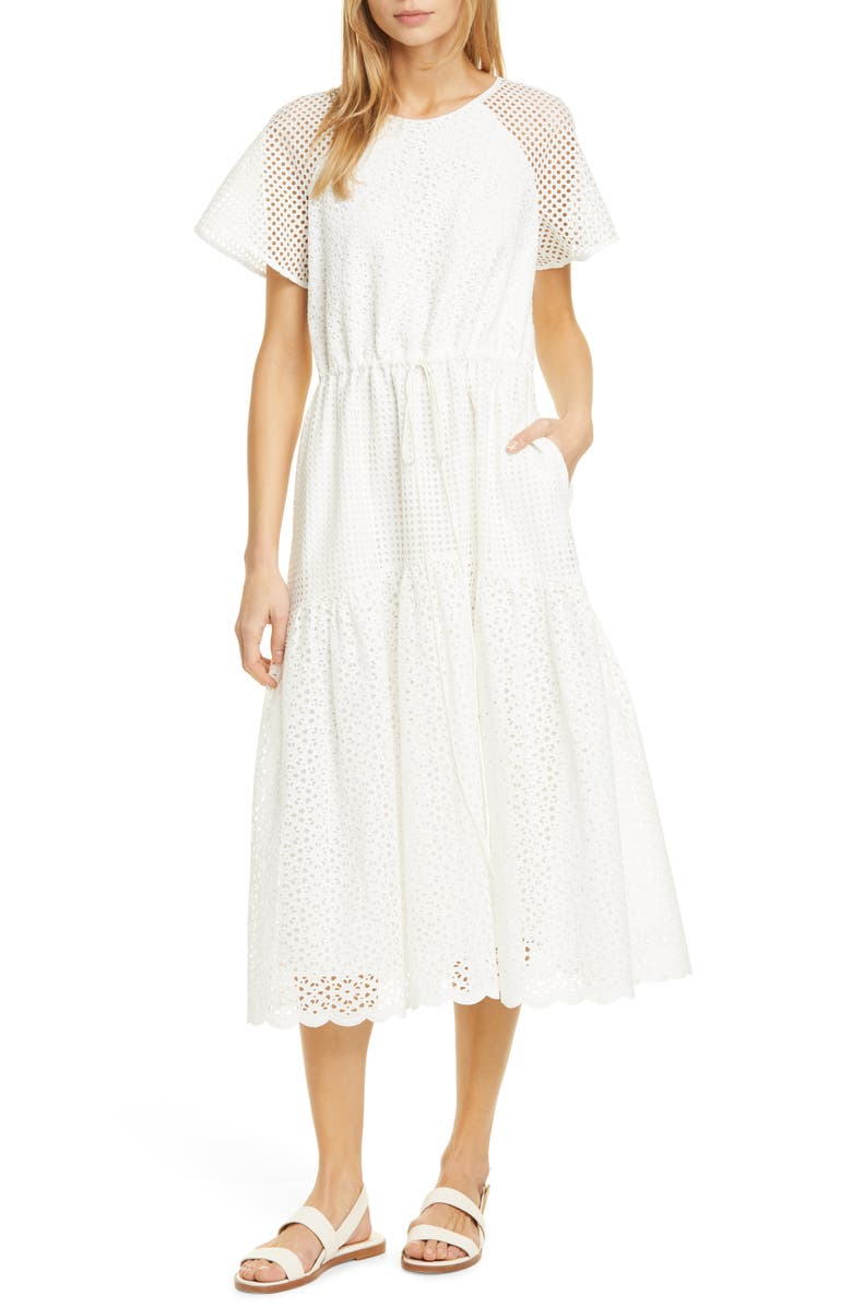 DVF Marlowe Eyelet Midi Dress, Main, color, 903